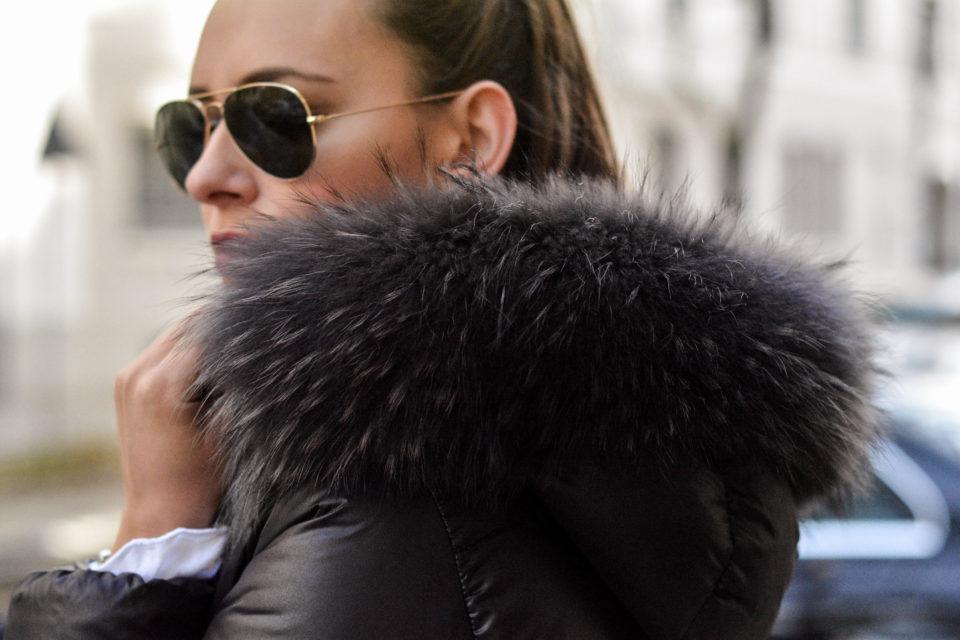 duvetica jacke schwarz mit pelz daunenjacke damen olivia julietta mode blog deutschland ray ban aviator