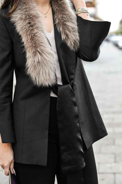 olivia julietta gant blazer schwarzer blazer fellkragen fashion blog aus münchen